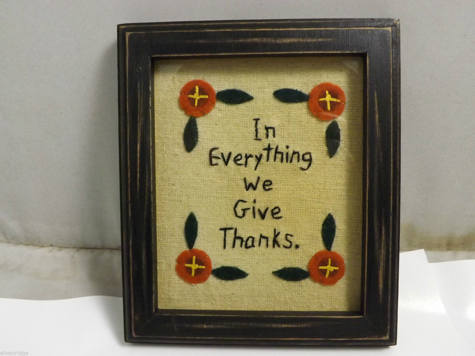 "Embroidered ""In Everything We Give Thanks"" Home Wall Decor Hand Stitched"