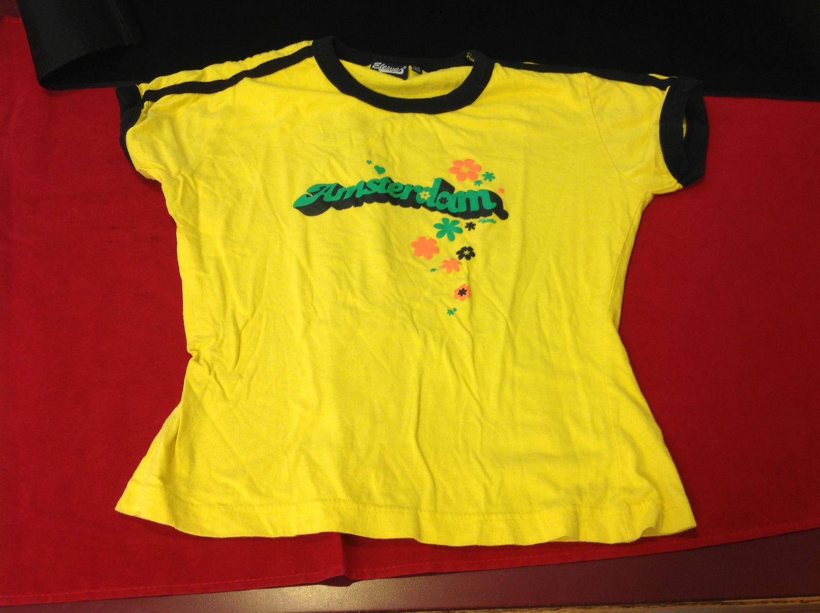 Elesua Ladies Yellow Graphic Shirt Amsterdam with Flowers One Size