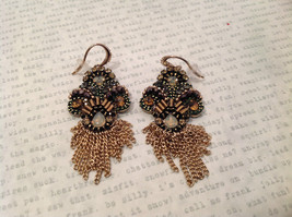 Dangling chains Multi color high quality Crystal Prudence C Earrings NEW image 6