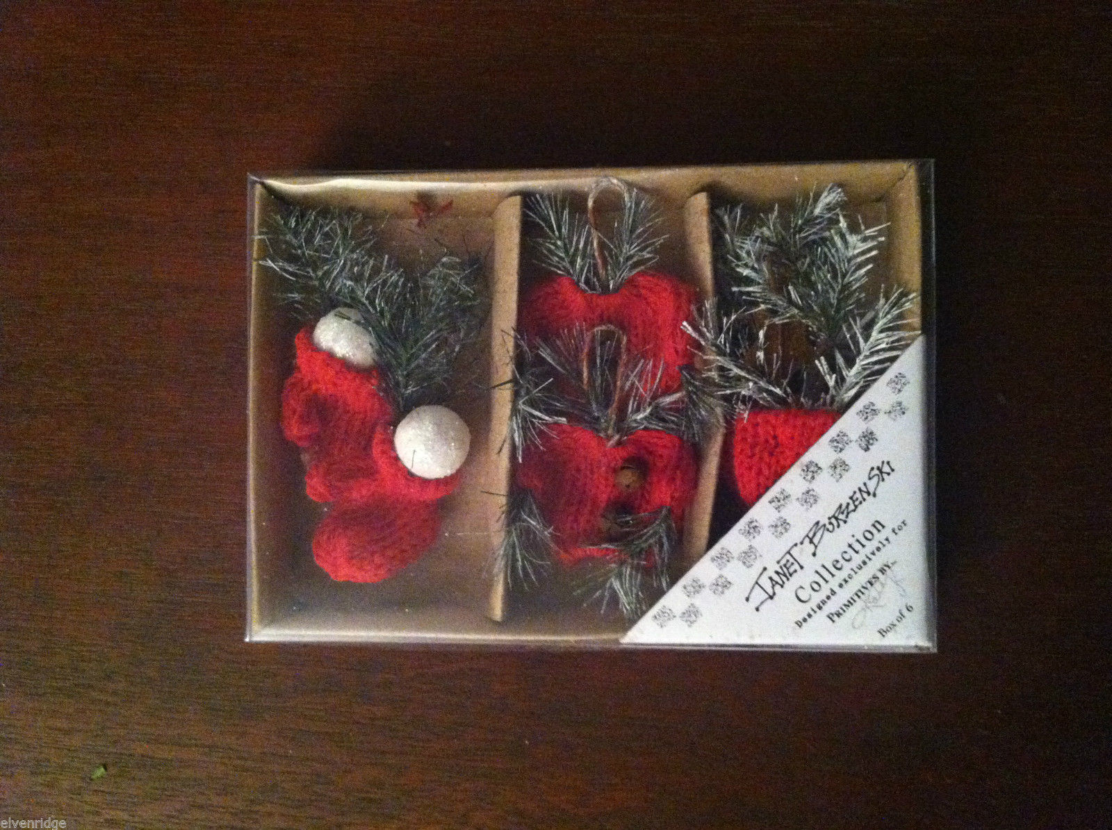 3 Pairs of miniature Red Knit Winter Mittens, Hat, Sweater Christmas ornaments