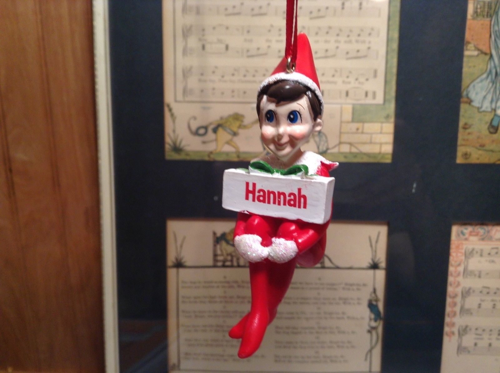 Dept 56 - Elf on the Shelf - Hannah  banner Christmas Ornament