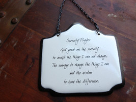 "Enameled Metal Signs ""Serenity Prayer"" with Black Chain Ready to Hang"