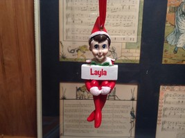 Dept 56 - Elf on the Shelf - Layla  banner Christmas Ornament