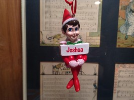 Dept 56 - Elf on the Shelf - Joshua  banner Christmas Ornament