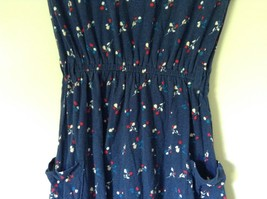 Dark Blue Cute Summer Dress Sleeveless Flowers Button on Shoulder Size M image 3