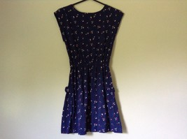 Dark Blue Cute Summer Dress Sleeveless Flowers Button on Shoulder Size M image 6