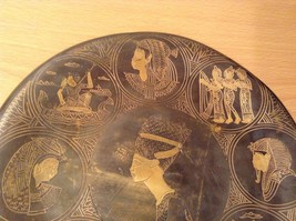 Decorative Wall Metal Plate from Egypt Brown Gold Tone Metal Copper image 4