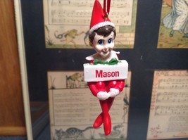 Dept 56 - Elf on the Shelf - Mason  banner Christmas Ornament image 1