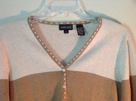 Deep V Neck Button Up Long Sleeve Jeanne Pierre Brown and White Sweater Size M image 2