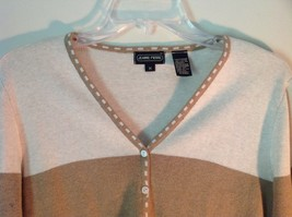 Deep V Neck Button Up Long Sleeve Jeanne Pierre Brown and White Sweater Size M image 3