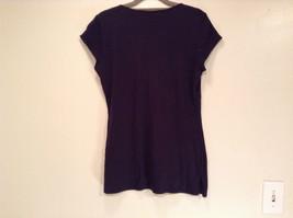Deep V Black Short Sleeve New York and Company Top Size Medium Cotton Blend image 7
