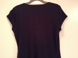 Deep V Black Short Sleeve New York and Company Top Size Medium Cotton Blend image 8