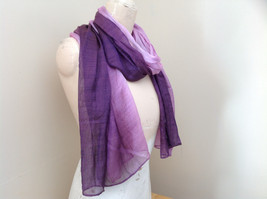 Deep purple watercolor scarf material has a shine to it length 68 inches image 2