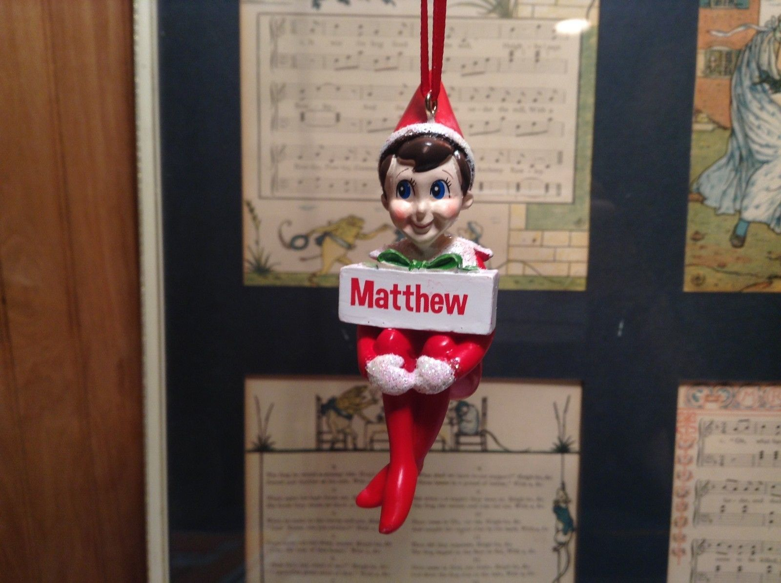 Dept 56 - Elf on the Shelf - Matthew banner Christmas Ornament