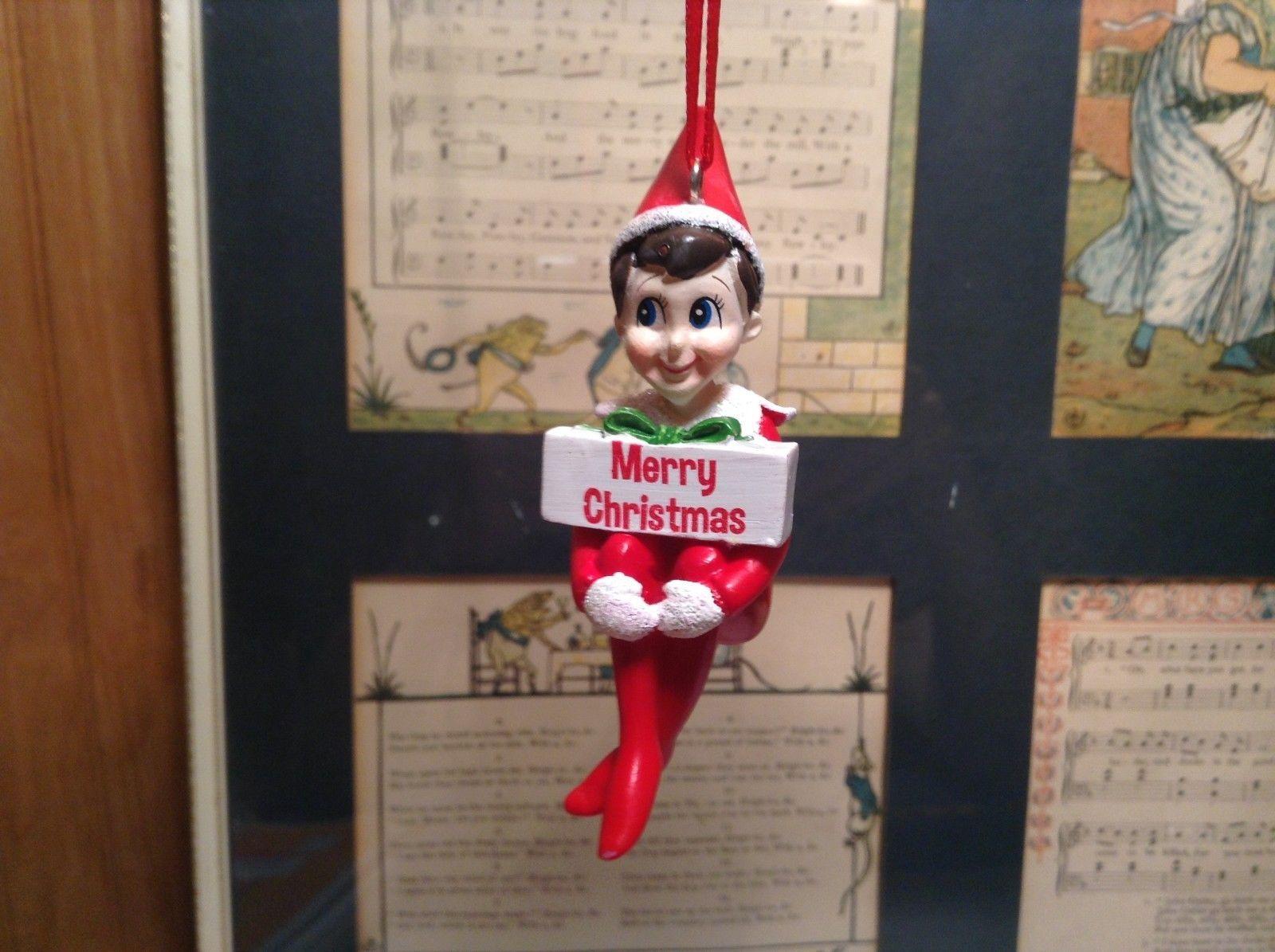Dept 56 - Elf on the Shelf - Merry Christmas banner Christmas Ornament