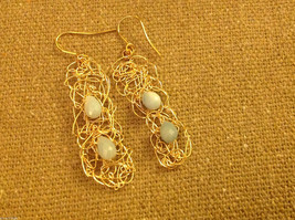 Designer gold wire earrings  with green aventurine cabochon to match necklace