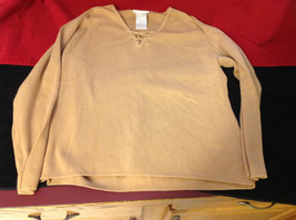 Designers Originals Ladies Light Brown Sweater Tie Closure at Neck Size Large