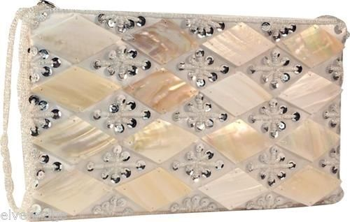 Diamond Burst  Clutch with Mother of Pearl  NEW