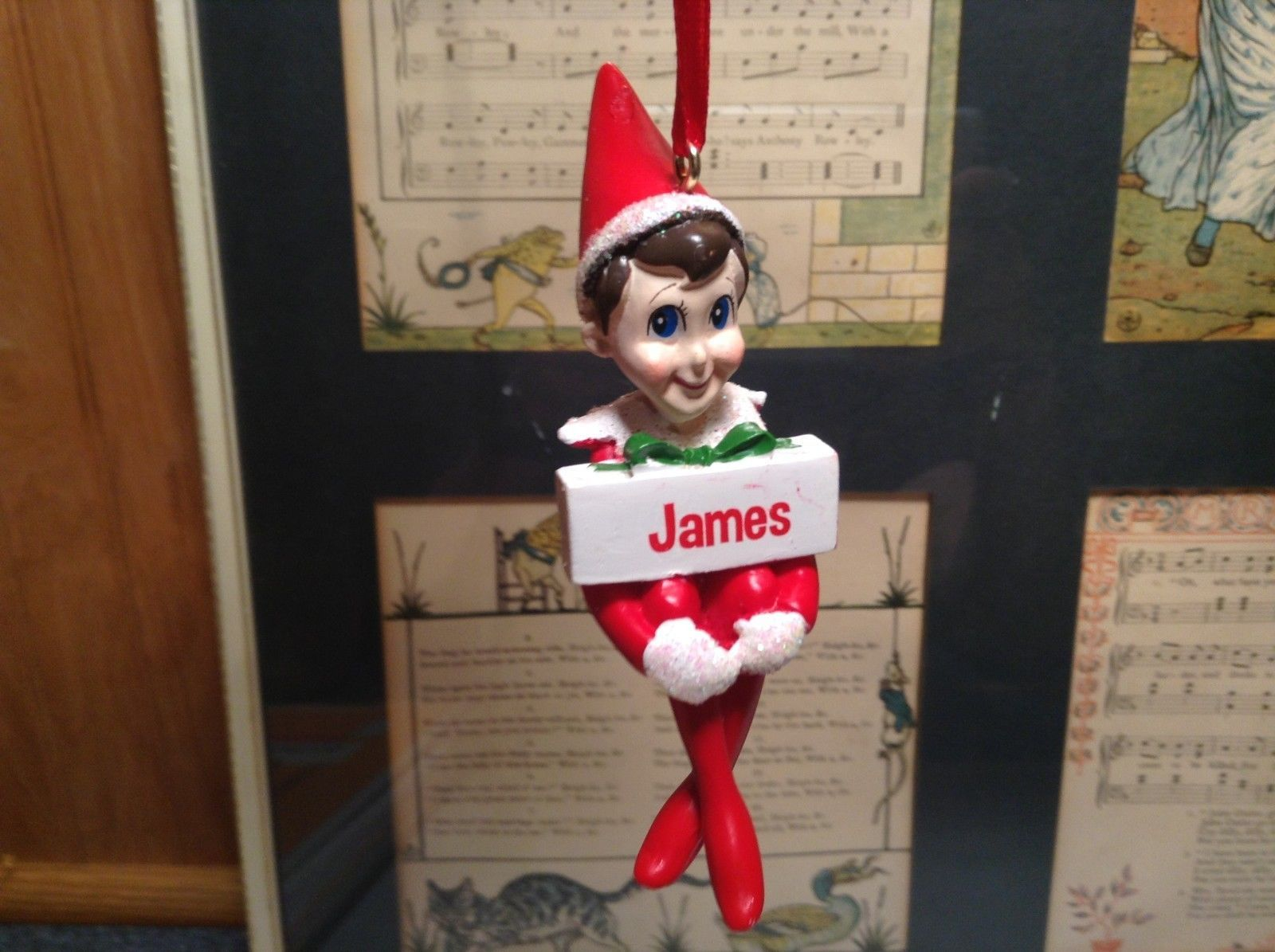 Dept 56 - Elf on the Shelf - James  banner Christmas Ornament