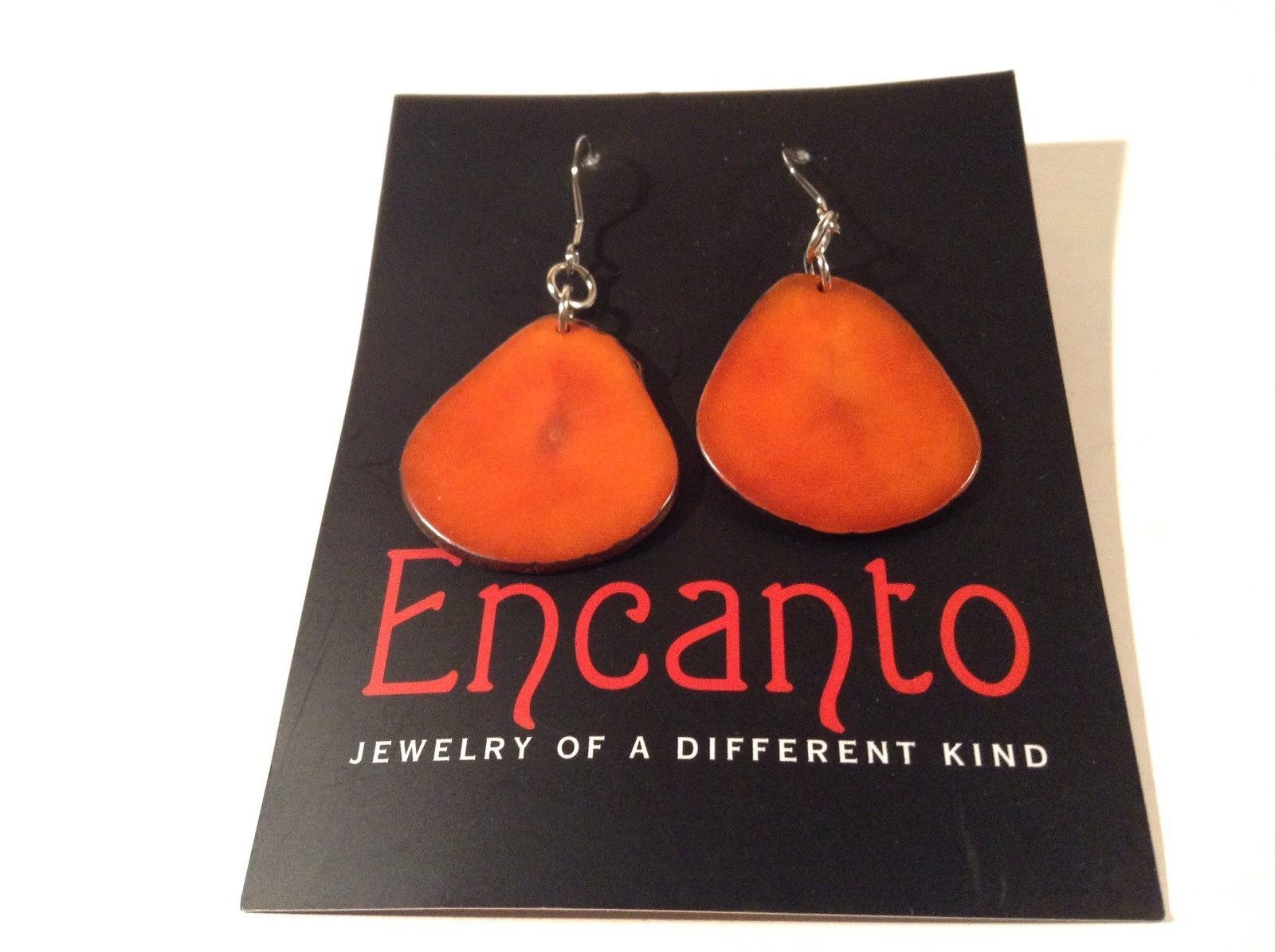 Encanto Jewelry of a Different Kind Orange Dangling Tagua Homemade Earrings