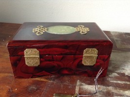 Dark Brown Wooden Lacquered Jewelry Box with Locking Mechanism Red Interior image 4