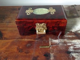 Dark Brown Wooden Lacquered Jewelry Box with Locking Mechanism Red Interior image 2