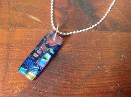 Dichroic Glass Pendant Necklace Silver Plated Chain Dark Blue Many Colors