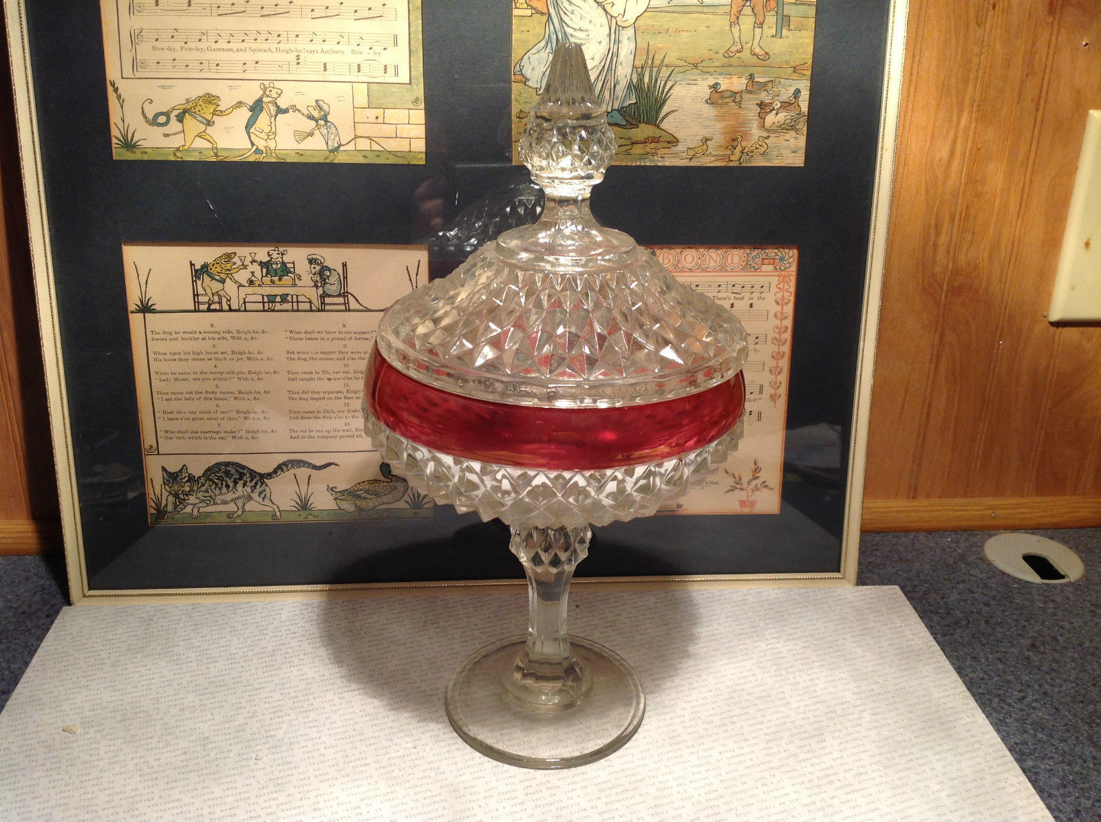 Diamond Pointed Lid Tall Glass Decorative Candy Dish 12 Inches High