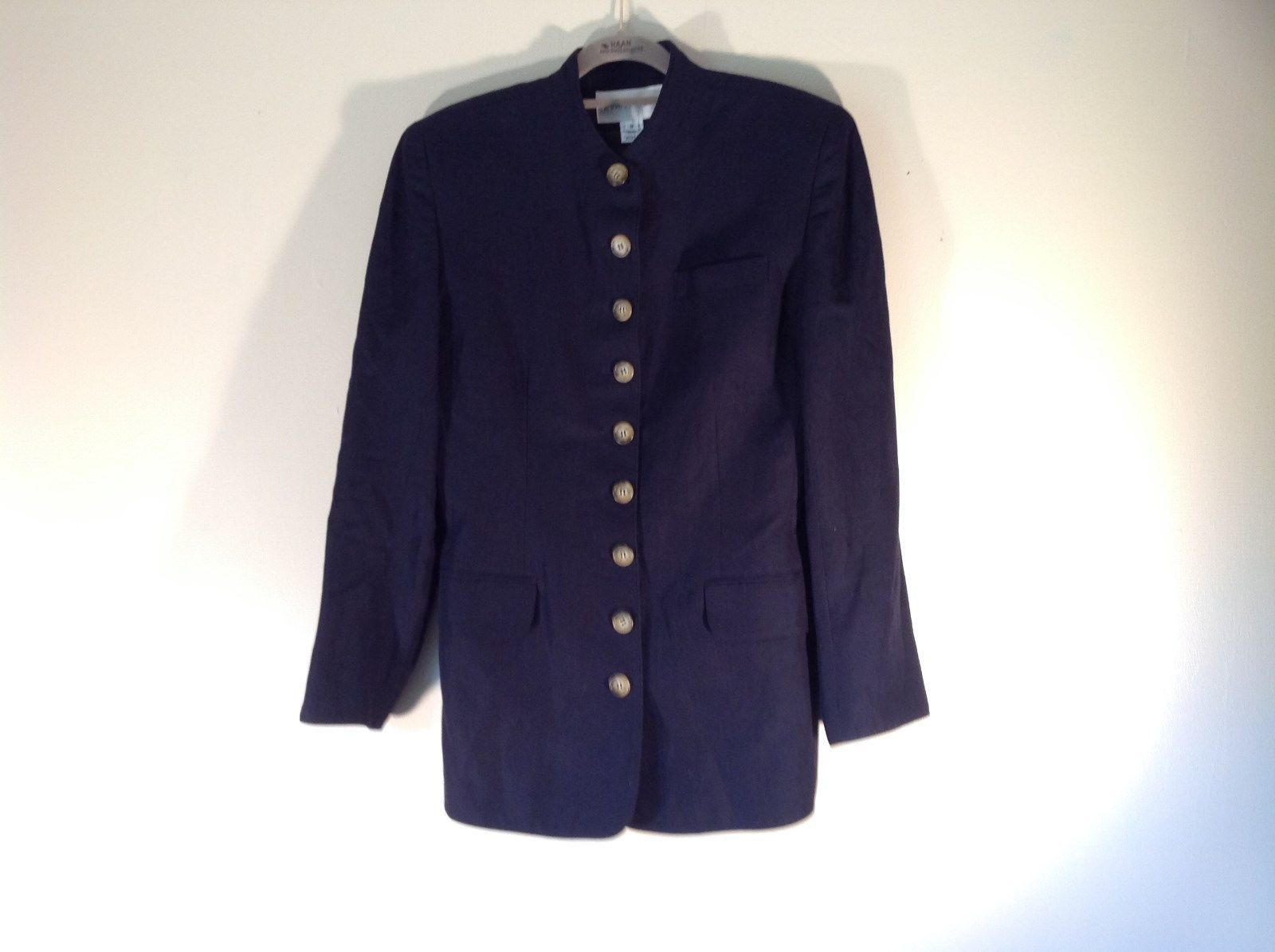 Evan Picone Long Dark Blue Size 8 Jacket Made in USA 9 Button Closure
