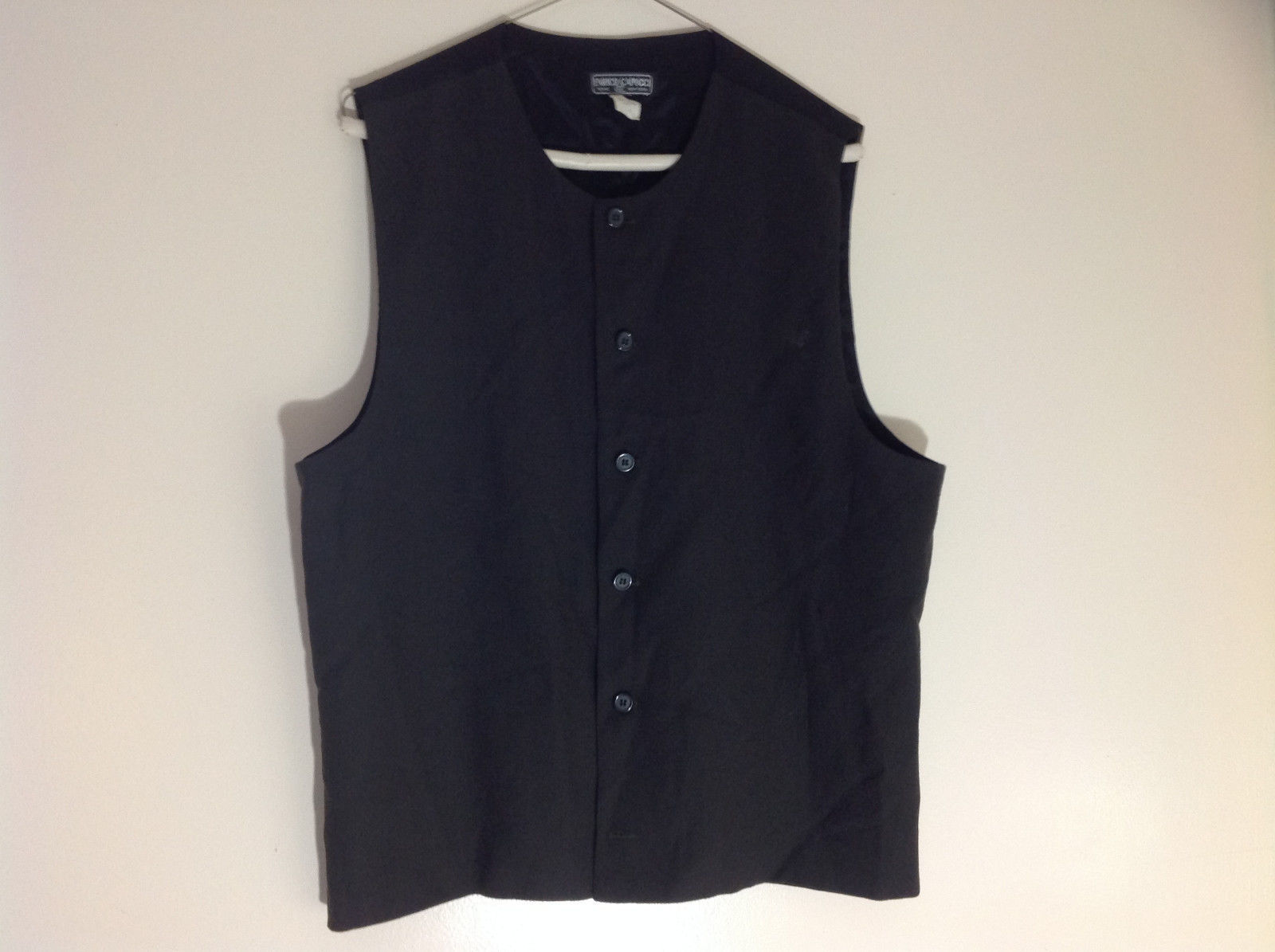 Enrico Capucci Forest Green Front Black Back Button Up Formal Vest Size Medium