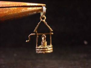 Detailed Sterling Silver Wishing Well Charm Pendant