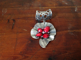 Eye Catching Silver Tone Scarf Pendant with Red Stones and Crystals Leaf Shaped