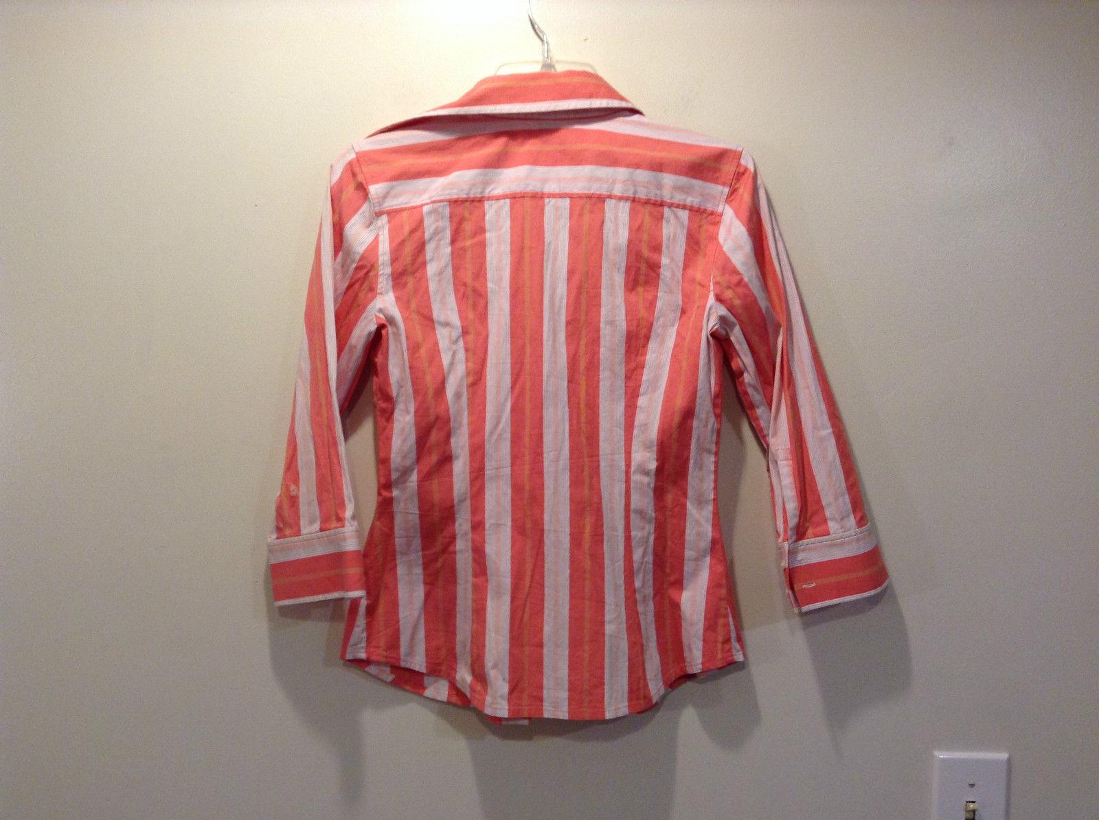 Express Design Studio Orange Pink Down Striped Shirt Size Small Button on Cuffs