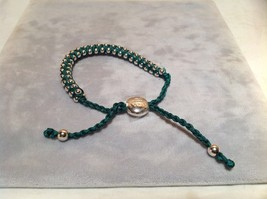 Dark Green Small Tied String Bracelet Sliding Bead for Adjustment image 3