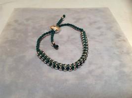 Dark Green Small Tied String Bracelet Sliding Bead for Adjustment image 5