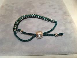 Dark Green Small Tied String Bracelet Sliding Bead for Adjustment image 4