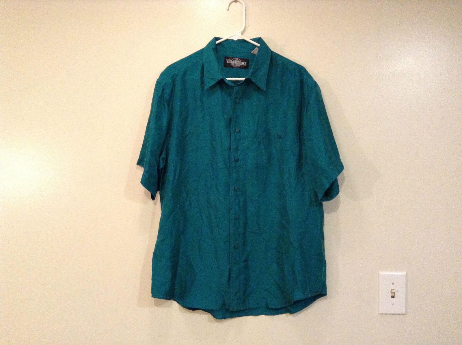 Direct Hit Short Sleeve Teal 100 Percent Silk Button Front Blouse Size Large