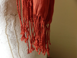 Dark Orange Silk Blend Tasseled Scrunched Style Scarf by Look TAG ATTACHED image 5