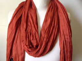 Dark Orange Silk Blend Tasseled Scrunched Style Scarf by Look TAG ATTACHED image 4