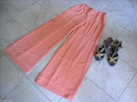 Disco Queen Vintage Bell Bottom Pants melon w beads and Wooden sandals