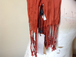 Dark Orange Silk Blend Tasseled Scrunched Style Scarf by Look TAG ATTACHED image 6