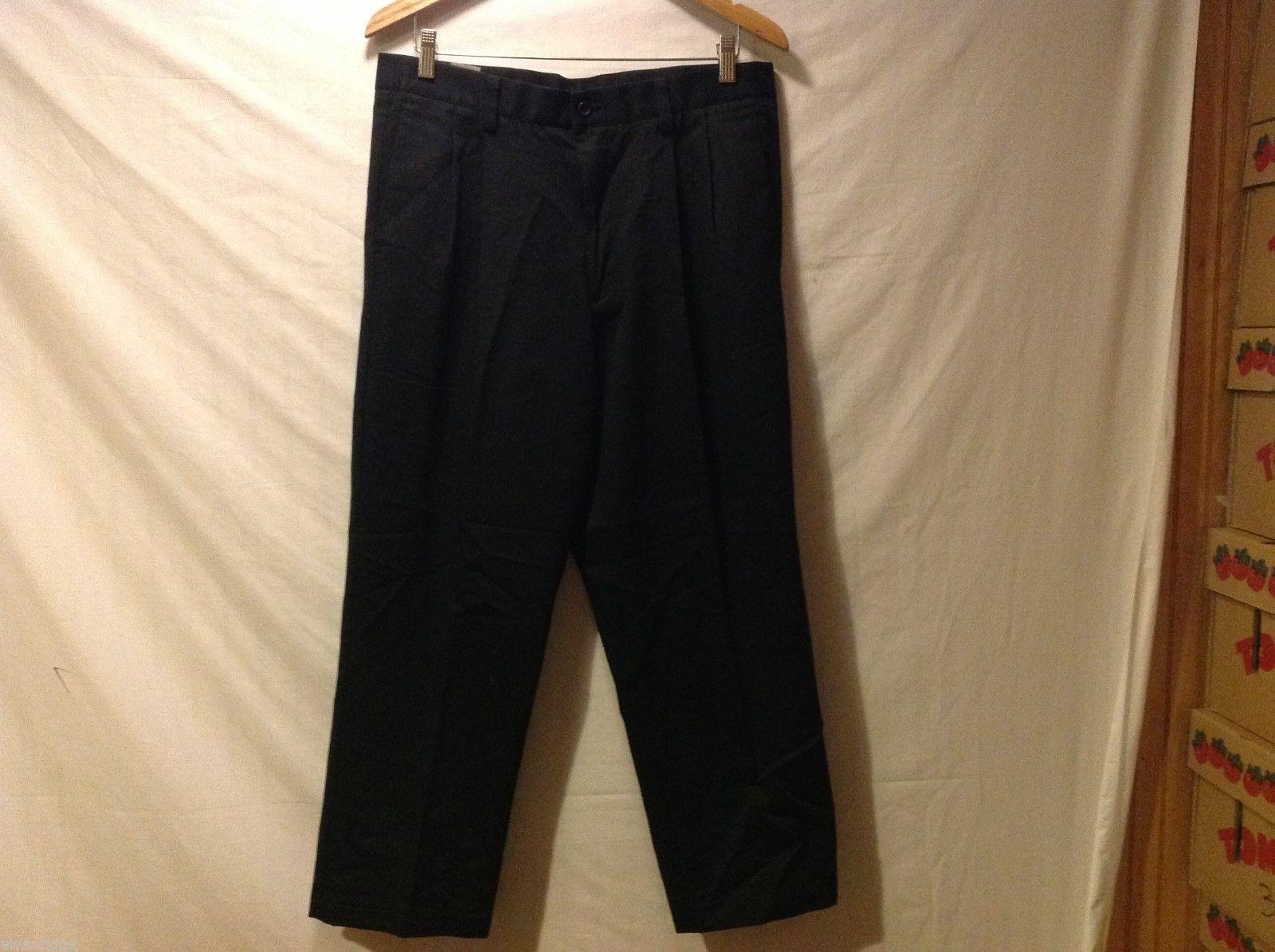 Dockers Mens Black Pleated Dress Pants, Size W34 L28