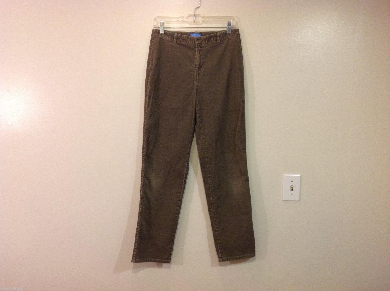 Dockers Women Olive Green Velvet Casual Pants, Size 8