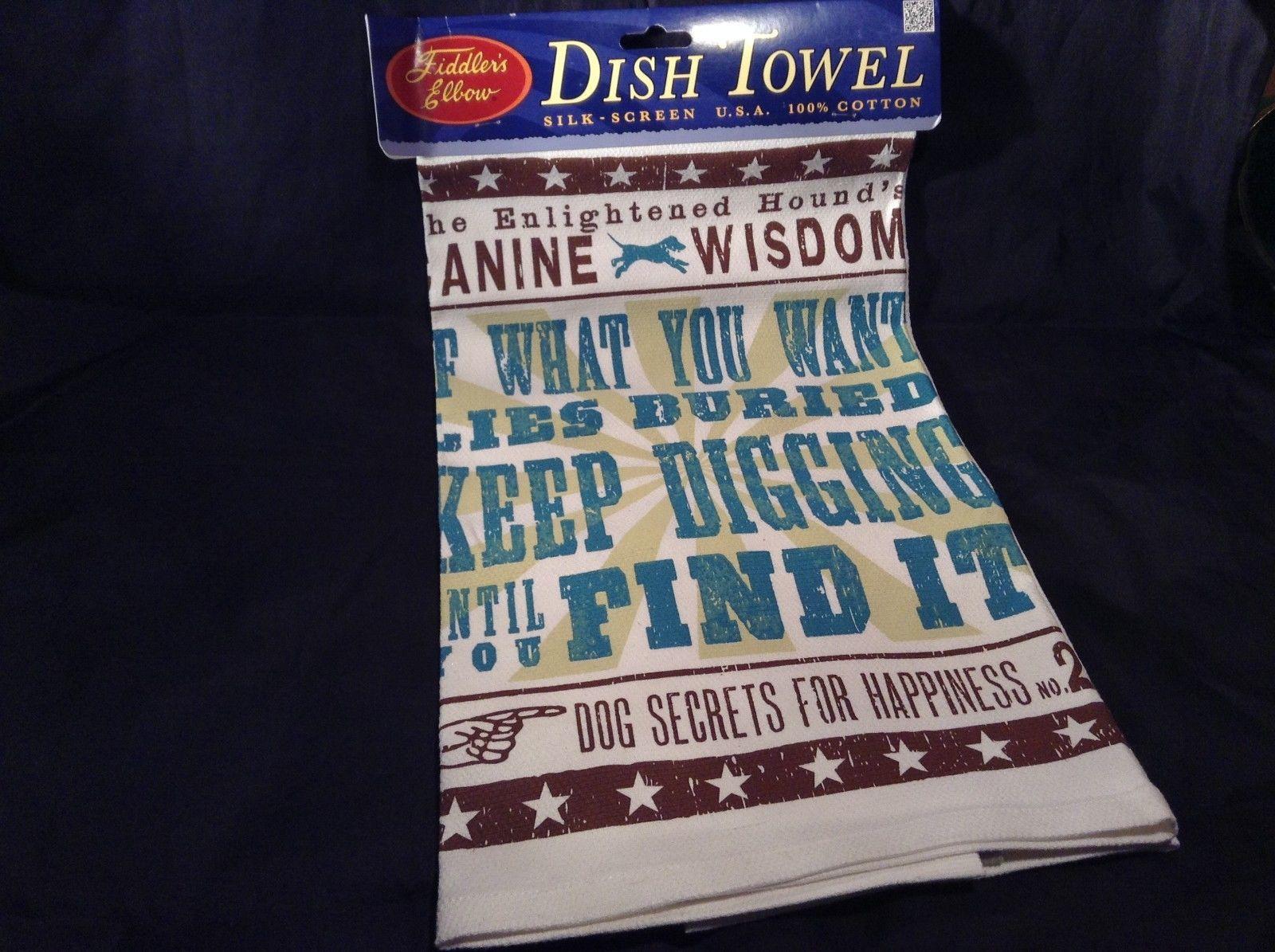 Dog Kitchen Towel The Enlightened Hound Canine Wisdom No 2 Made USA Cotton