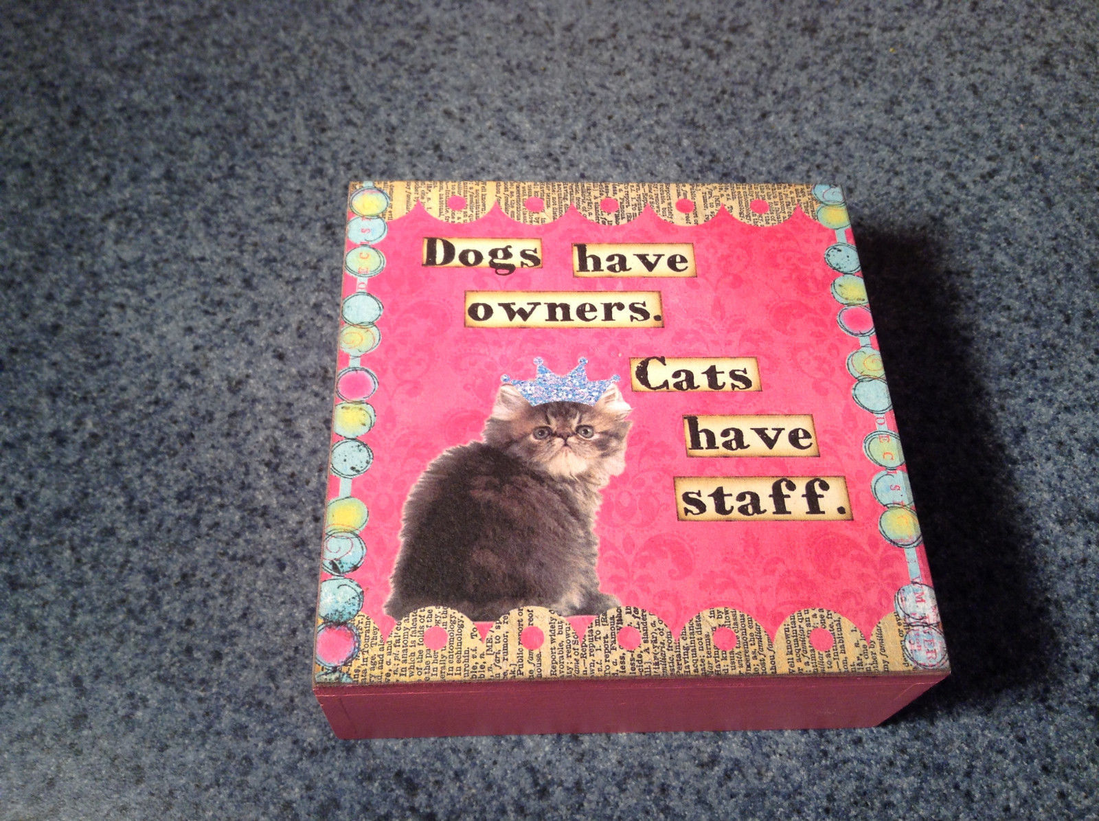 Primary image for Dogs Have Owners Cats Have Staff Cute Pink Wooden Box with Lid