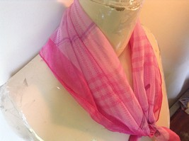 Dark and Light Pink Square Scarf with Purple and Pink Pattern Flowers on Corners image 3