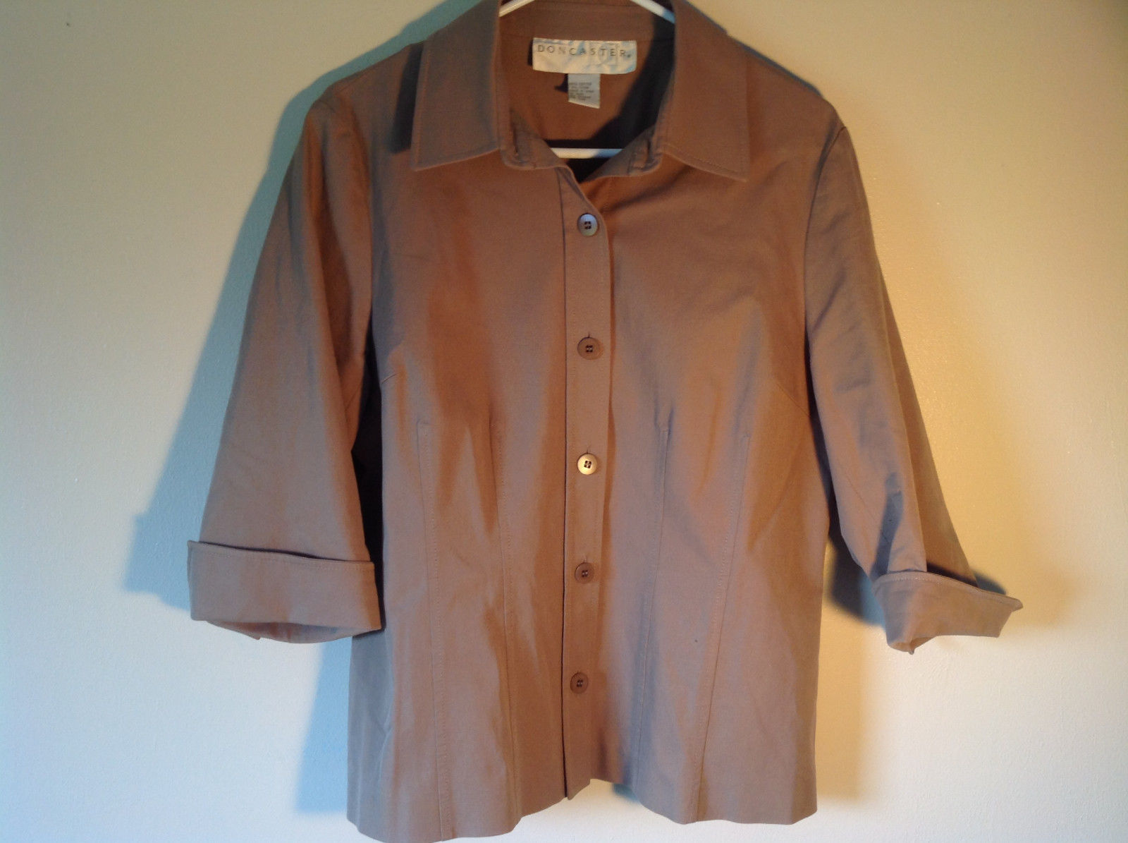 Doncaster Brown Three Quarter Length Sleeves Button Down Blouse  No Size Tag