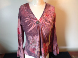Dressbarn Fancy V Neck Long Sleeve Fancy Top Flowers Writing Fake Gems Size PM