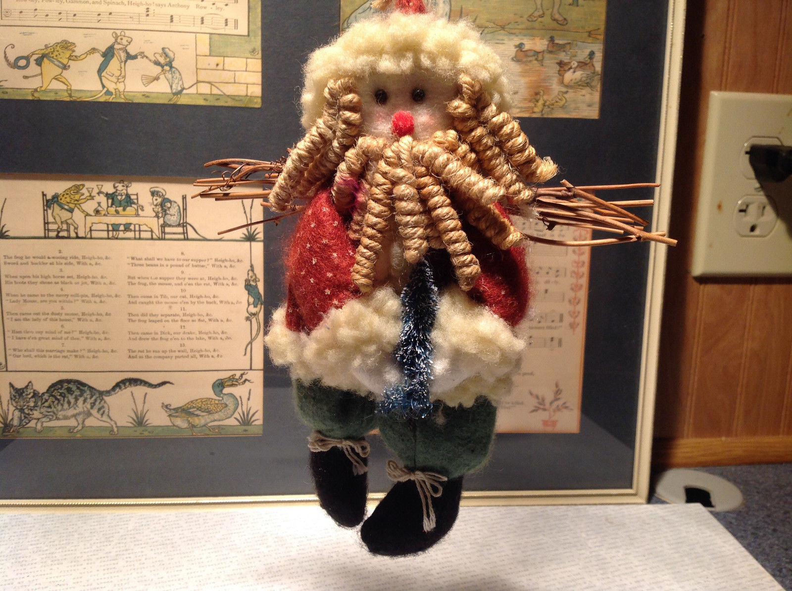 Doll Santa Ornament Christmas Tree Stick on Back Rope Beard Green Red Fabric