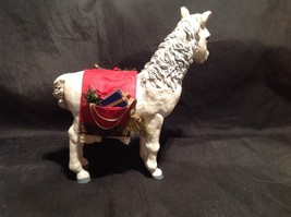 Decorative Horse Figurine White with Red Saddle Holding Christmas Items image 2